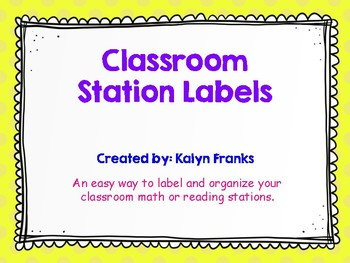 Classroom Station Labels