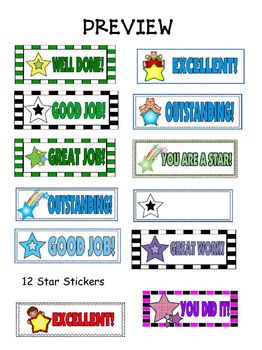 Classroom Stickers: Star Award Stickers