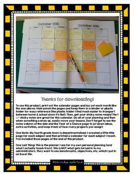 Classroom Sticky Note Planning Calendar (2016-2017)
