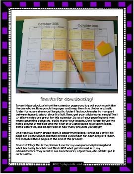 Classroom Sticky Note Planning Calendar (2017-2018)