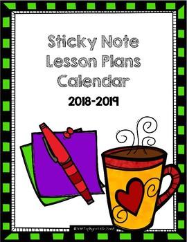 Classroom Sticky Note Planning Calendar (2018-2019)