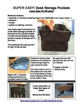 Classroom Storage Idea (Student Desk Storage Bags) FREE Preview