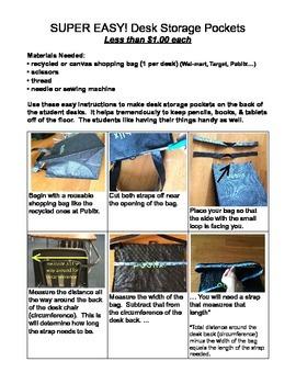 Classroom Storage Idea (Student Desk Storage Bags) Less than $1 each