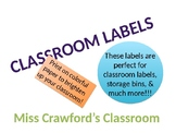 Classroom Storage Labels