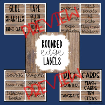 Classroom Storage Labels- Rustic Theme