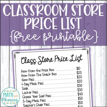 Classroom Store Price List - Great for Classroom Economy