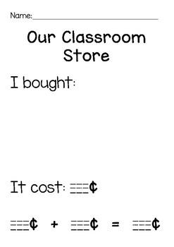 Classroom Store Recording Sheet