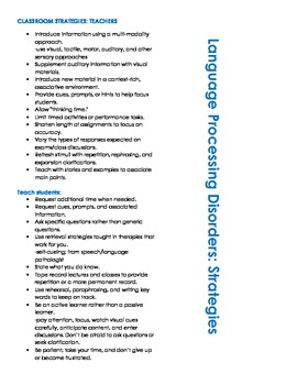 Classroom Strategies for Processing Disorders