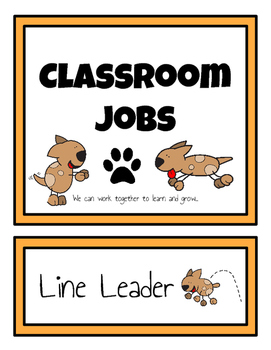 Classroom Student Jobs Clip Chart (Dogs Version)
