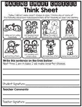 Classroom Student Reflection - Behavior - Think Sheet