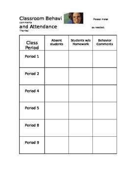 Classroom Sub Behavior Chart
