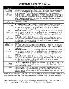 Classroom Sub Information Sheet (Editable)