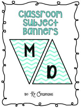 Classroom Subject Banners Blue Chevron
