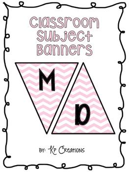Classroom Subject Banners Pink Chevron