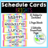 Classroom Subject Editable Schedule Cards- BRIGHTS