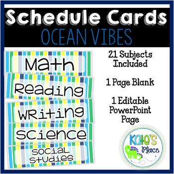 Classroom Subject Editable Schedule Cards- Ocean Vibes