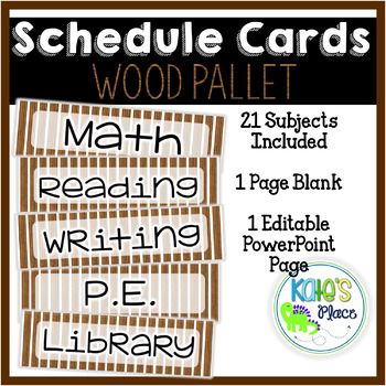 Classroom Subject Editable Schedule Cards- Wood Pallet