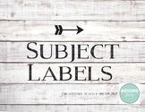 Classroom Subject Labels - Modern Twist on Rustic Shiplap