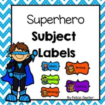 Classroom Subject Labels (Superhero Themed)