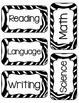 Classroom & Subject Labels - Zebra Print in Black and White