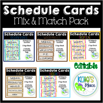 Classroom Subject Schedule Cards - EDITABLE PACK