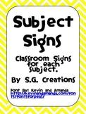 Classroom Subject Signs- Yellow Chevron