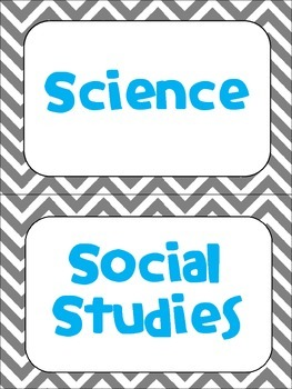 Classroom Subject Signs- Gray Chevron