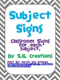 Classroom Subject Signs- Gray Chevron