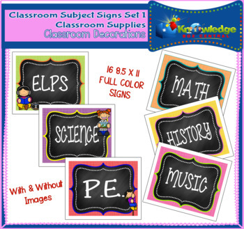 Classroom Subject Signs Set 1