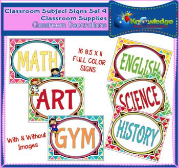 Classroom Subject Signs Set 4