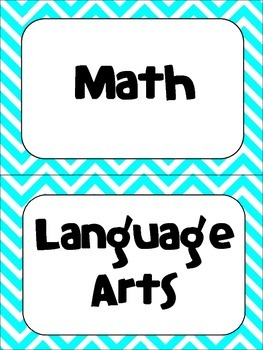 Classroom Subject Signs- Turquoise Chevron