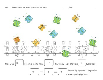 Classroom Subtraction Butterfly Book