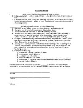 Classroom Success Contract