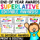 End of the Year Awards Distance Learning | Editable Superlative Awards | Digital