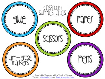 Classroom Supplies Labels - Colorful Chevron