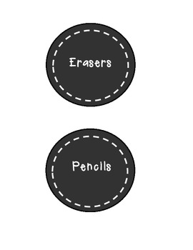 Classroom Supplies Labels-black circles/white letters