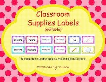 Classroom Supplies Labels in Polka Dots {editable}