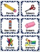Classroom Supplies Labels - in blue polka dot