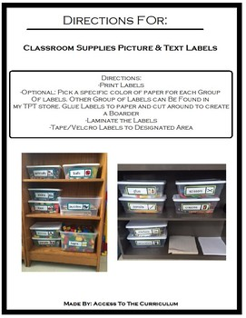 Classroom Supplies Picture & Text Labels