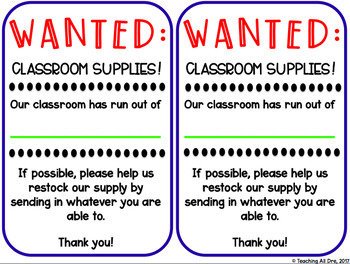 Classroom Supplies Request