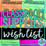 Classroom Supplies Wish List: Editable Supply List for Sec