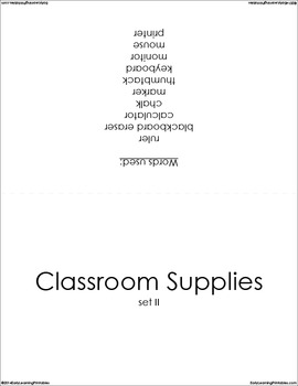 Classroom Supplies (set II) Picture Flashcards