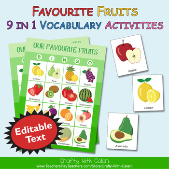 fruits 9 in 1 vocabulary activities editable text by crafty with
