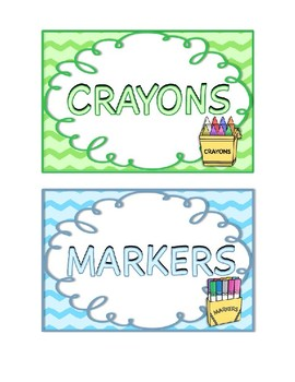 Classroom Supply Bin Labels in Chevron and Swirls