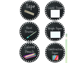 Classroom Supply Bucket Labels