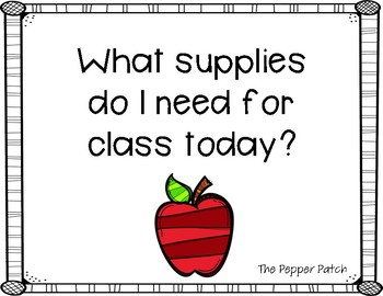 Classroom Supply Cards