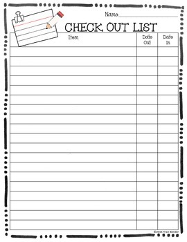 Classroom Supply Check Out List {FREEBIE}
