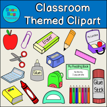Classroom Supplies Clipart for Commercial Use | Simple Graphics - Line Drawings