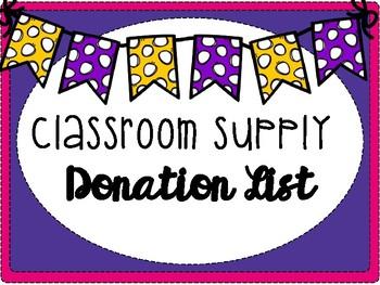 Classroom Supply Donation List