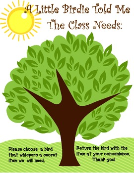 Classroom Supply  Donations Poster